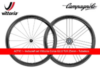 ACTIE ! -  BORA WTO - 45 - DARK - Wielset incl Vittoria Corsa G2.0 tubeless