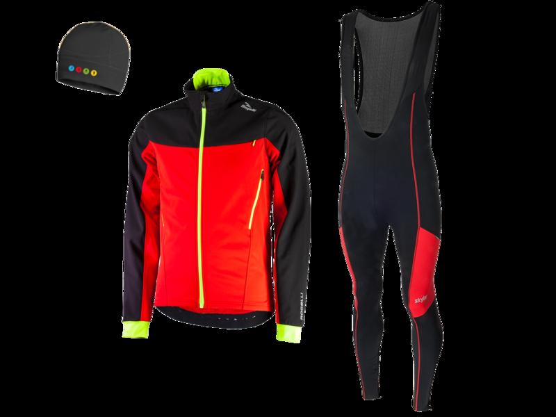 Trabia vest hiver  + Manzano Collant COMBINASION Noir/Rouge (avec chapea