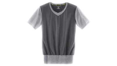 Womens Fly-by short sleeve vneck [heather Oxford grey]