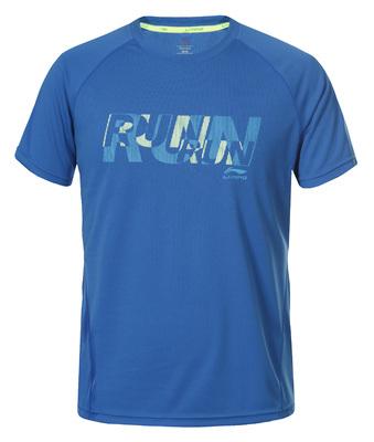 Stuart T-shirt met RUN print blauw color 355