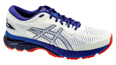 Kayano 25 white/blue print