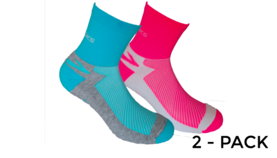 Unisex Glycerin Midweight 2-pack socks [brite pink/white turquoise/Oxford]