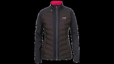 Women's running jacket - HELENA [black/darkbrown chest]
