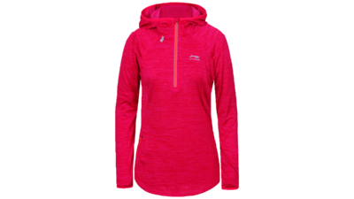 Women's running shirt long sleeve 1/2 zip - HEGE [coral pink]