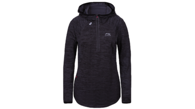 Women's running shirt long sleeve 1/2 zip - HEGE [black]