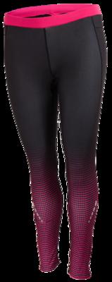 Runningtight zwart, overlopend in fluor roze patroon op onderbeen