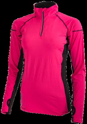 Fluor roze hardloop shirt lange mouw met ritsje.