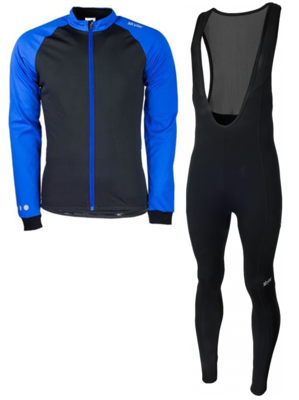 Softshell winterjacket + Manzano Salopet SET Blue/Black
