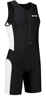 Heren tri-suit frontzip zwart/wit
