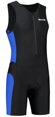 Heren tri-suit frontzip zwart/blauw