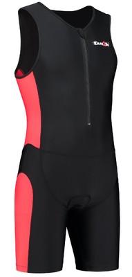 Heren tri-suit frontzip zwart/rood