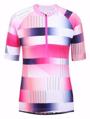Rovik wielershirt women streep/blok pink white