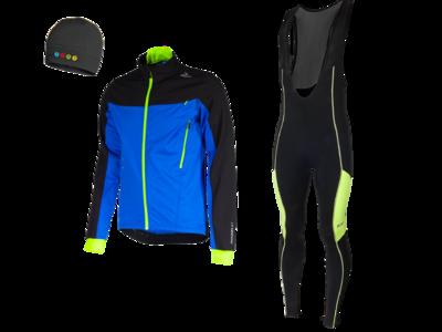 Trabia vest hiver  + Manzano Collant COMBINASION Noir/Jaune (avec chapea