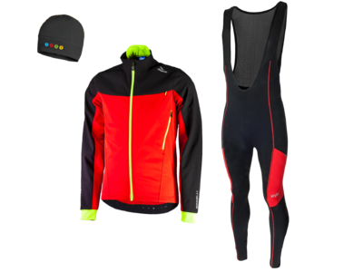 Trabia winterjacket + Manzano Salopet SET Black/Red (with free cap)