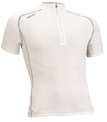 wielershirt korte mouw wit/zilver