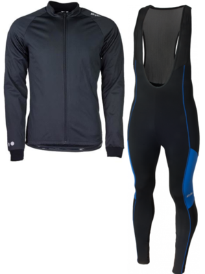 Softshell winterjacket + Manzano Salopet SET Black/Blue