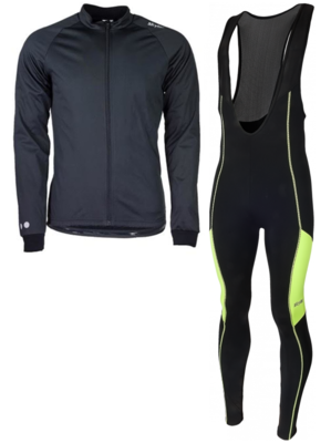 Softshell vest hiver  + Manzano Collant COMBINASION Noir/Jaune