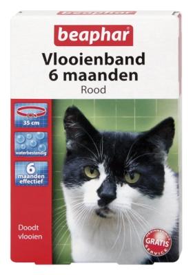 Vlooienband kat rood