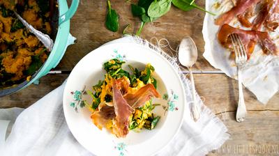 Recept: Zoete aardappelstamppot met parmaham